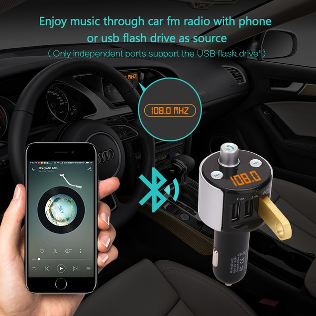 spm-o2 User Manual Multi-function Car Bluetooth music player car charger