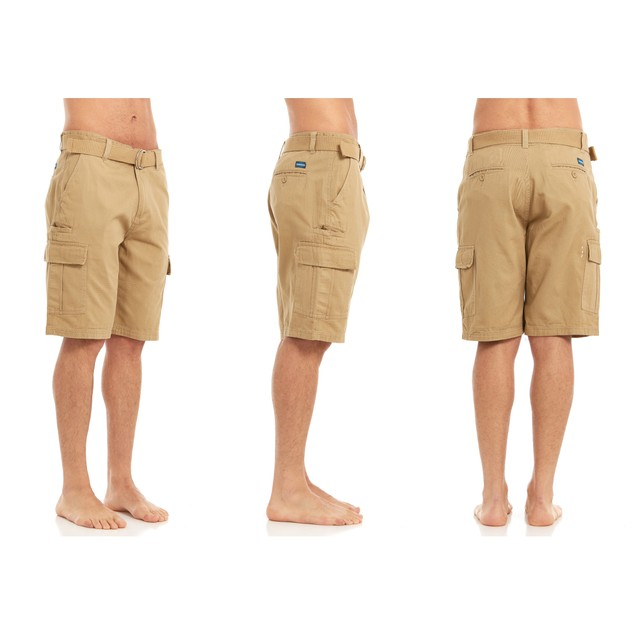 Heavy Duty Men's Belted Twill Cargo Pocket Shorts