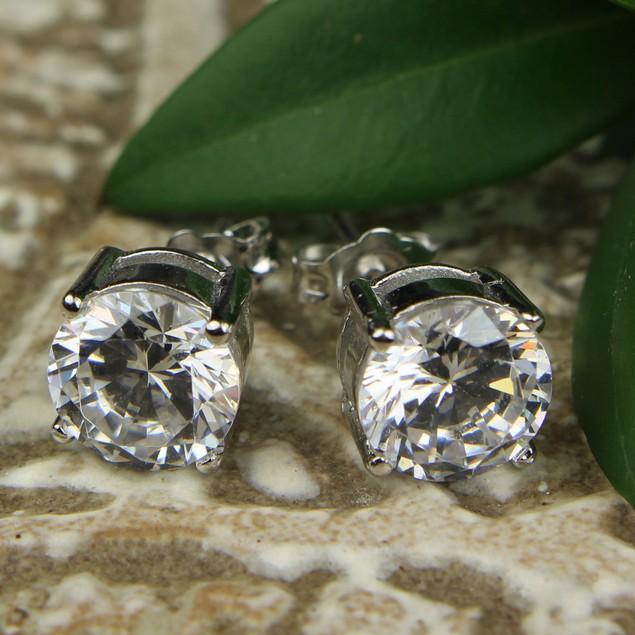 2-PACK Cubic Zirconia Diamond Stud Earrings