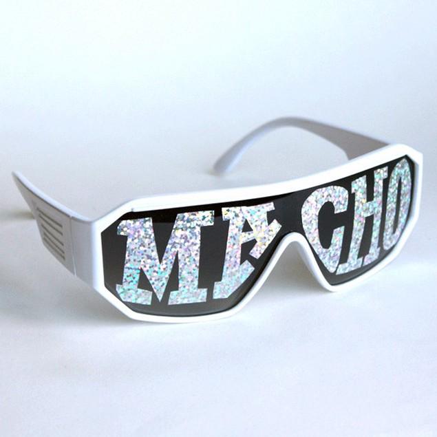 Macho Wrestler Sunglasses Silver Macho on Black Lens with White Frame
