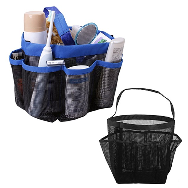 Bathroom Shower Mesh 8 Pocket Portable Quick Dry Outdoor Travel Tote Bag