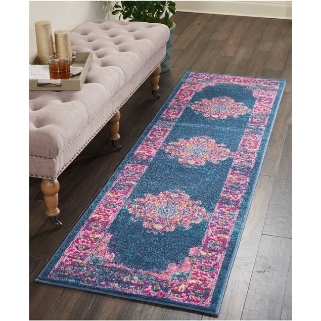 "Long Street Looms Zeal ZEA03 Traditional Indoor 22""x76"" Runner Rug, Blue"