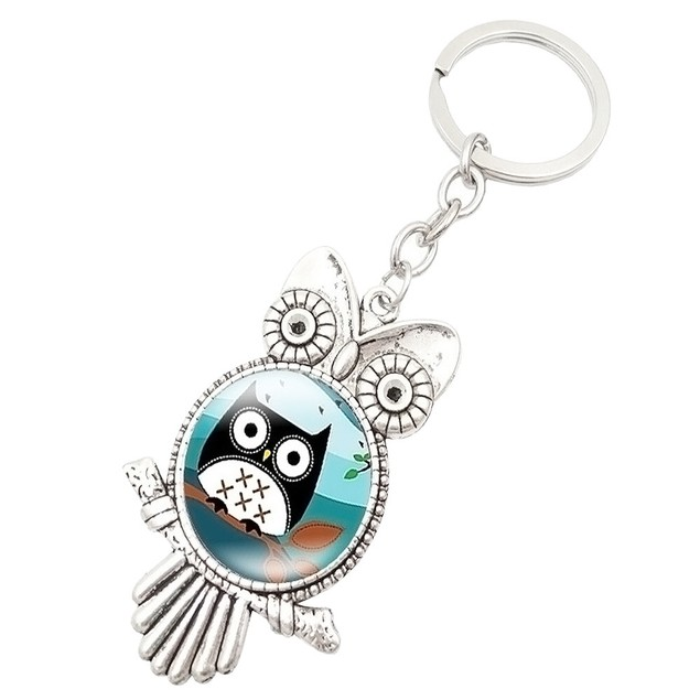 Retro Owl Time Gemstone Metal Key chain Glass Key chain