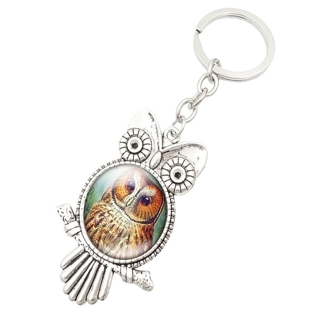 Retro Owl Time Gemstone Metal Key chain Glass Key chain