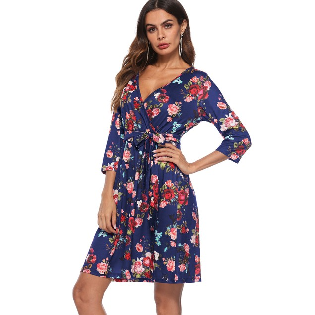 3/4 Sleeve Floral Front Tie Dress