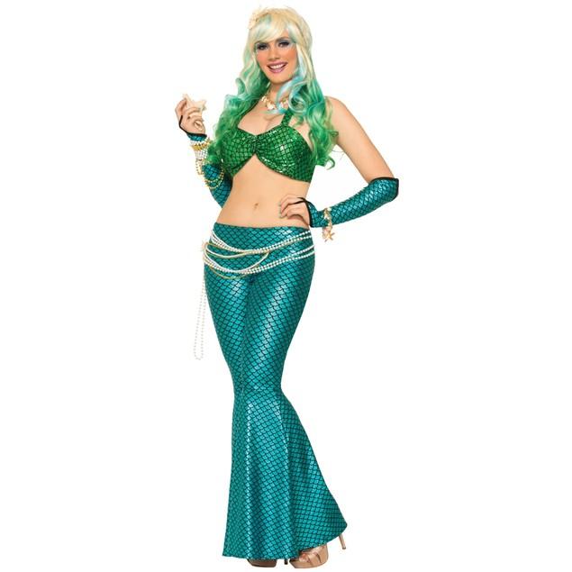 Green Mermaid Bikini Top Fin Flare Metallic Little Fish Costume Adult
