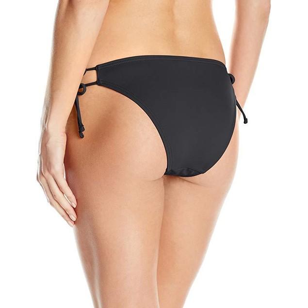 Echo Design Women's Solid String Bikini Bottom, Black, Sz XS
