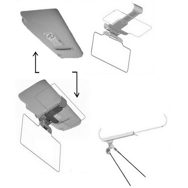 Car Sun Visor Anti-Glare UV Blocker Fold Flip Down HD Clear View Visor