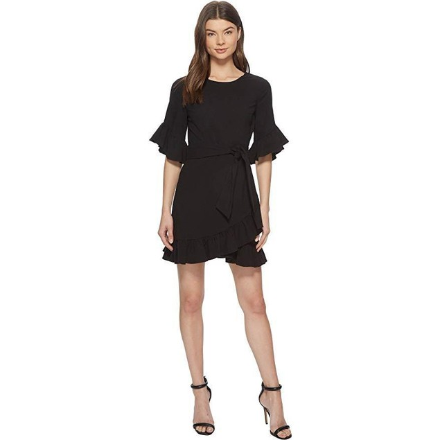 1.State Women's Asymmetrical Ruffled Edge Wrap Dress Rich Black 8