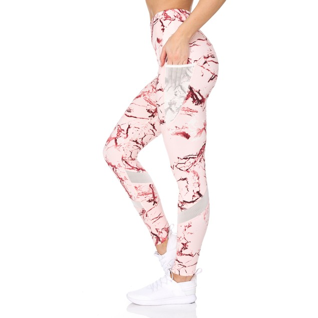 Women's High Waist Active Leggings With Marble Print & Pockets