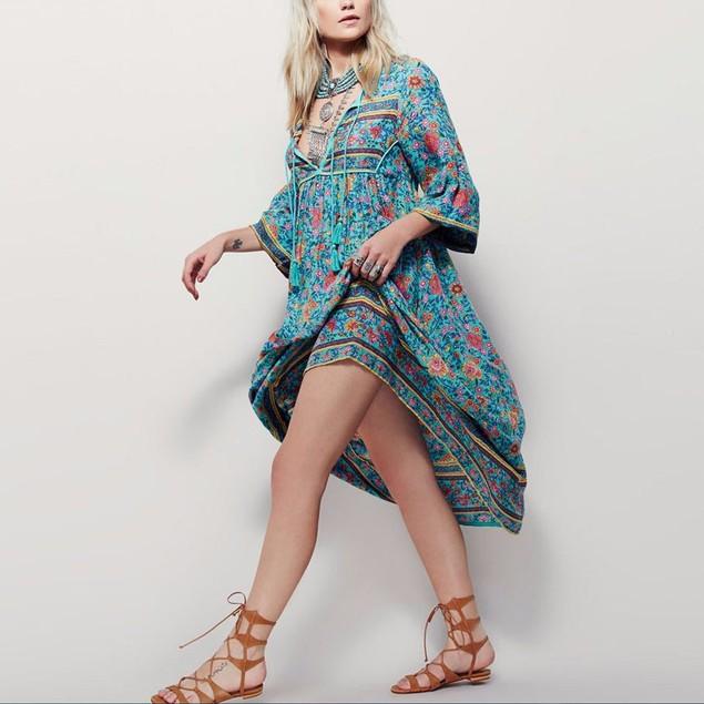 Women Floral Print Long Sleeve Boho Dress Ladies Party Long Maxi Dress