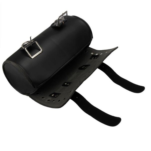 Motorcycle Universal Saddlebags Tool bag PU Leather Roll Black Bags