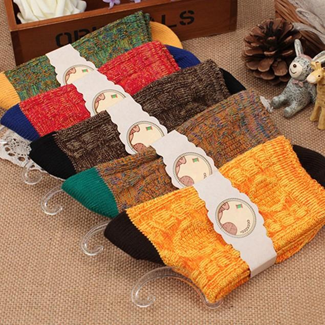 Vintage Polyester Socks Multi-color Design Casual Socks