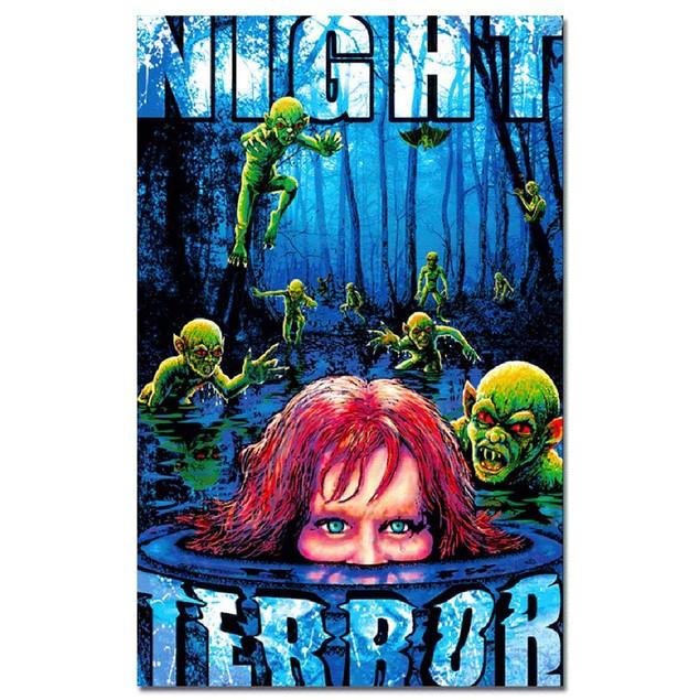 "Night Terror Poster 24"" x 36"" Blacklight Responsive Horror Swamp Alien"