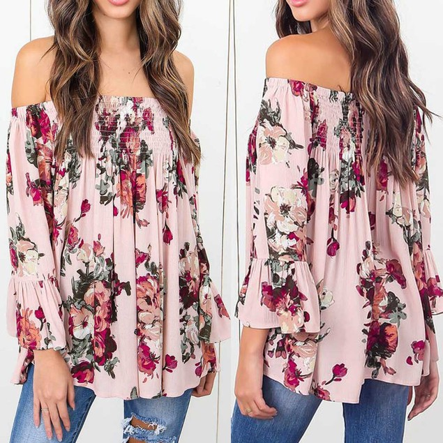 Women Floral Print Tops Off Shoulder Flare Sleeve Shirt Blouse Pink