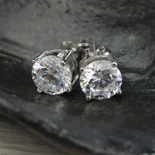 2 PACK: CZ Diamond Hoop Earrings and Diamond CZ Stud Earrings Bundle
