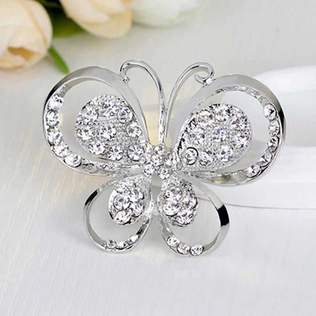 Women Romantic Butterfly Inlaid Rhinestone Brooch