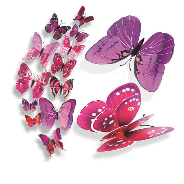 12Pcs 3D Butterfly Wall Sticker Fridge Magnet Decal Applique Room Decor