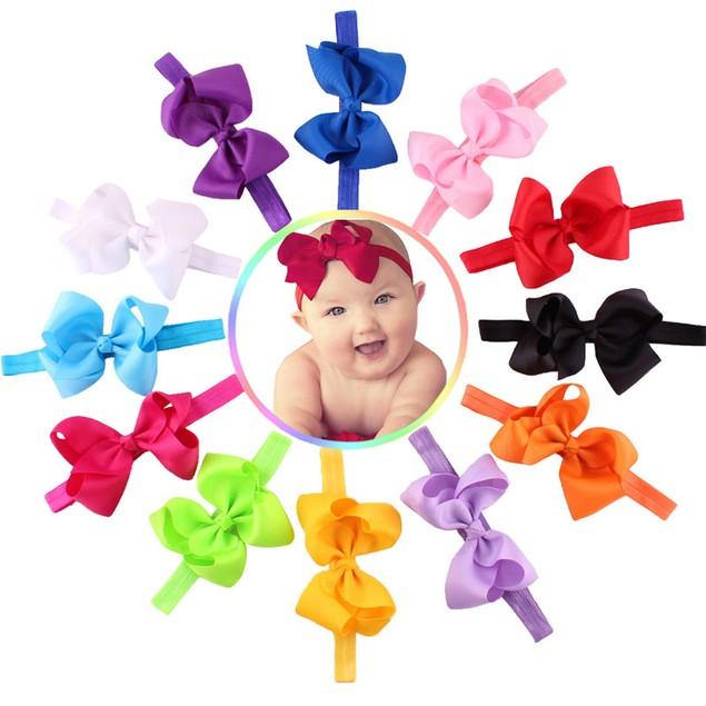 12PC Baby Girls Elastic Bowknot Flower Hairband Photography Headbands