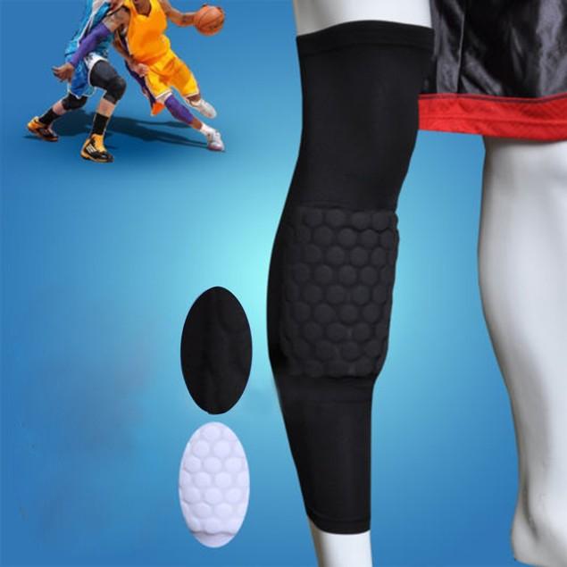 Honeycomb Pad Anti-slip Basketball Leg Knee Long Protect Sleeve- Black