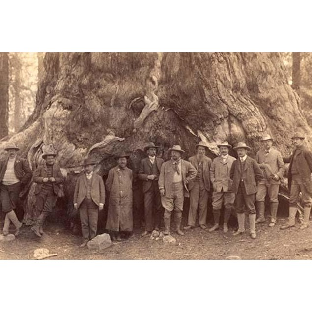 """Theodore Roosevelt and his distinguished party, before the """"Grizley Giant,"""""""