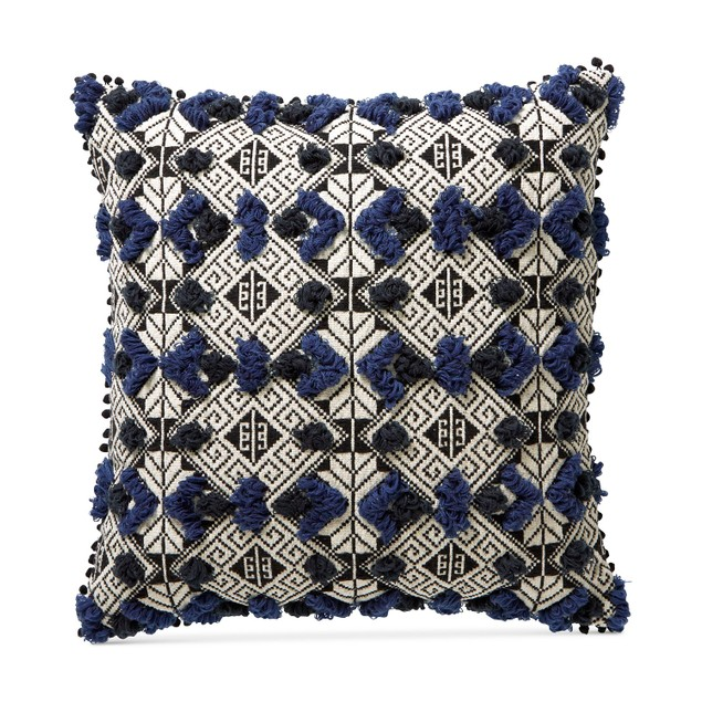 "Lucky Brand Hand Tufted Reversible Geometric Jacquard Square Pillow, 20"","