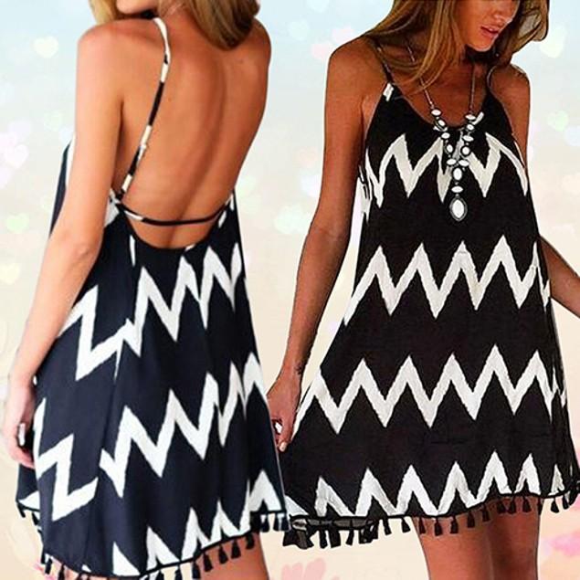 Women's Fashion Summer Sexy Wave Pattern Dress