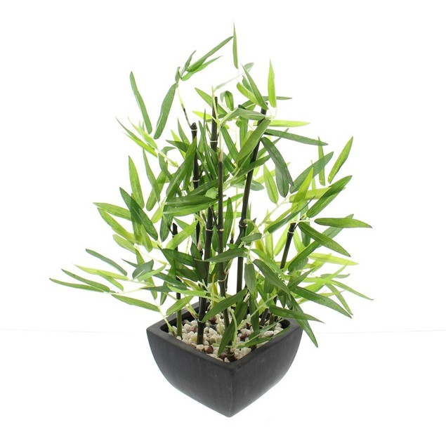 18 in Faux Bamboo Plant - Lush Artificial Bamboo in Pot With River Stones