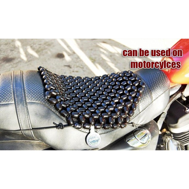 Zone Tech Black Wooden Beads Seat Motorcycle Cover Cushion Pad Massage