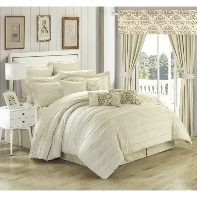 Chic Home 24 Piece Donnella Pleated ruffles and Reversible Comforter Set