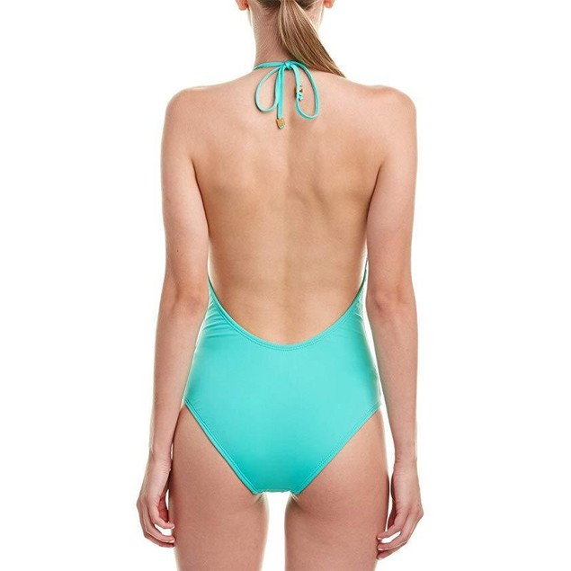 Shoshanna Women's Mint Solid Front Lattice Maillot One-Piece Mint  Sz