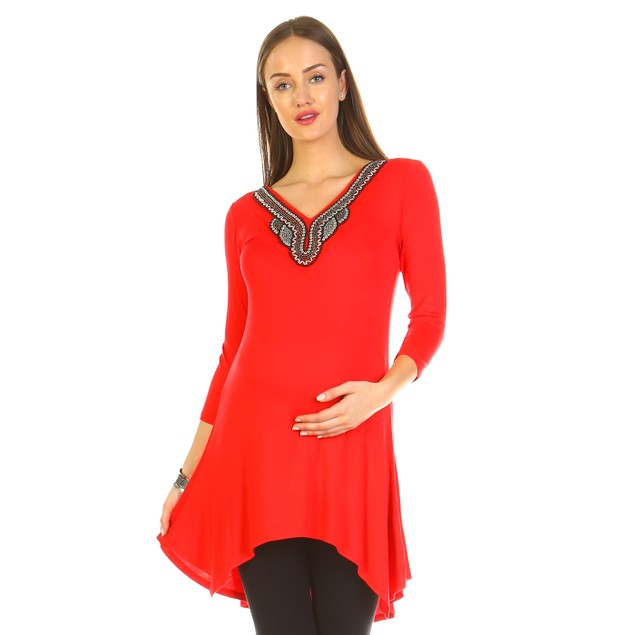 Maternity Sofia Embellished Tunic Top - 7 Colors - Extended Sizes