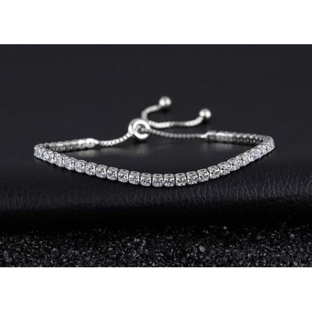 Sterling Silver Adjustable CZ Bracelet