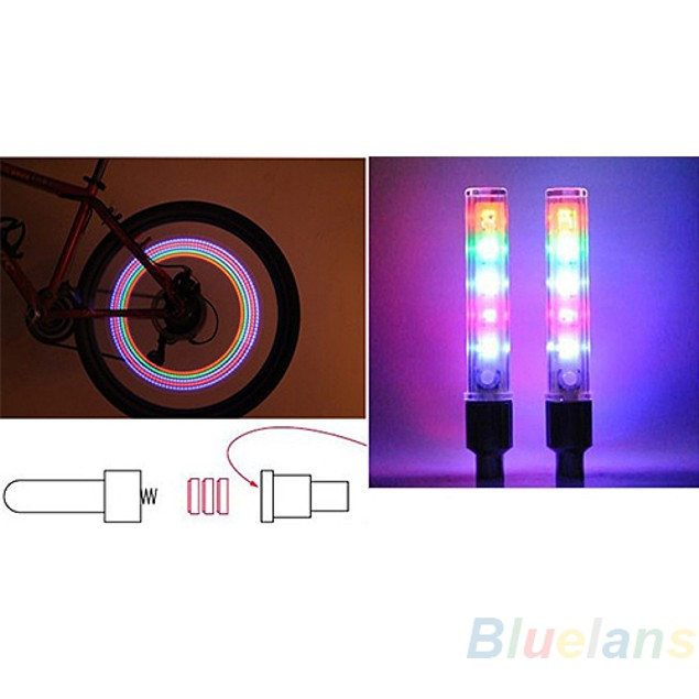 Bicycle Wheel Tire Valve Cap Spoke Neon 5 LED Lights