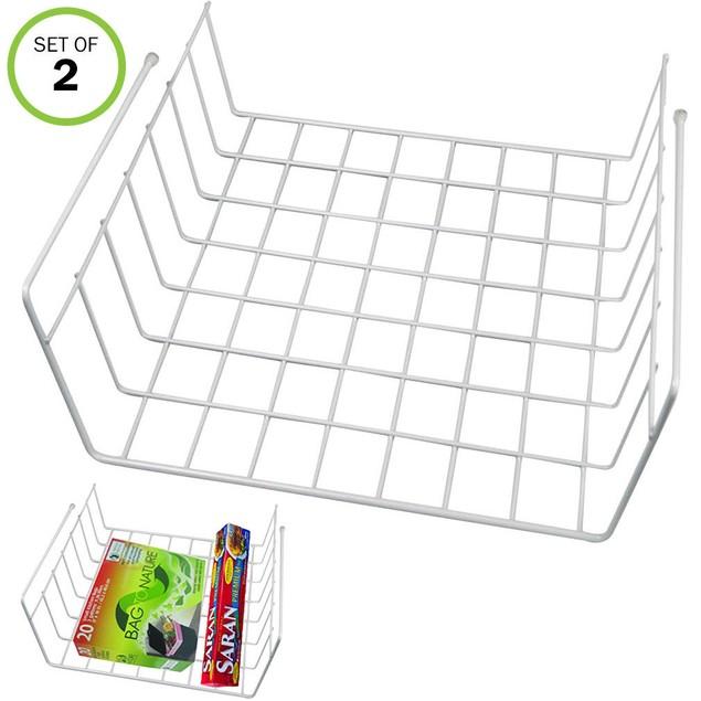 Slide Under Shelf Extra Storage Baskets-Kitchen-Office-Sturdy Wire-Set/2