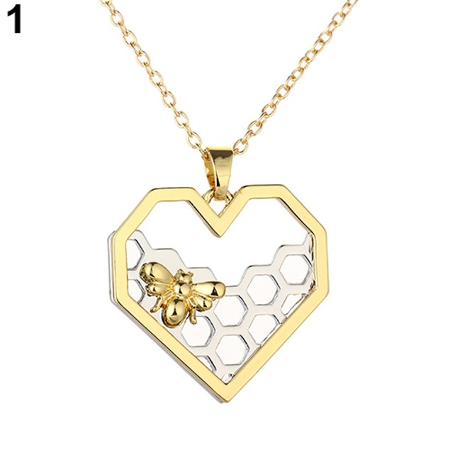 Fashion Honeycomb Bee Animal Pendant Necklace