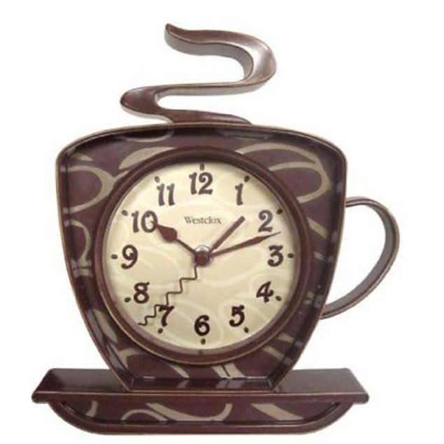"Westclox 8"" Analog Quartz Coffee Cup Brown Wall Clock"