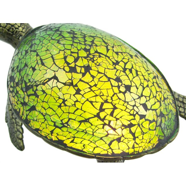 Cute Mosaic Green Glass Sea Turtle Accent Lamp Accent Lamps