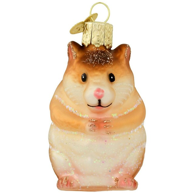 Hamster Glass Christmas Ornament Xmas Holiday Gerbil Pet Winter Tree Gift