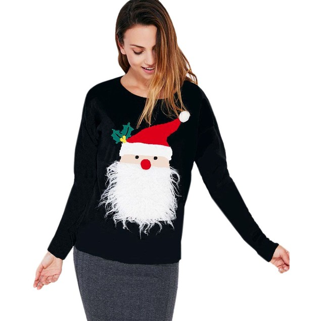 Women Christmas Print Long Sleeve Pullover Sweatshirt Blouse Shirt Clothes