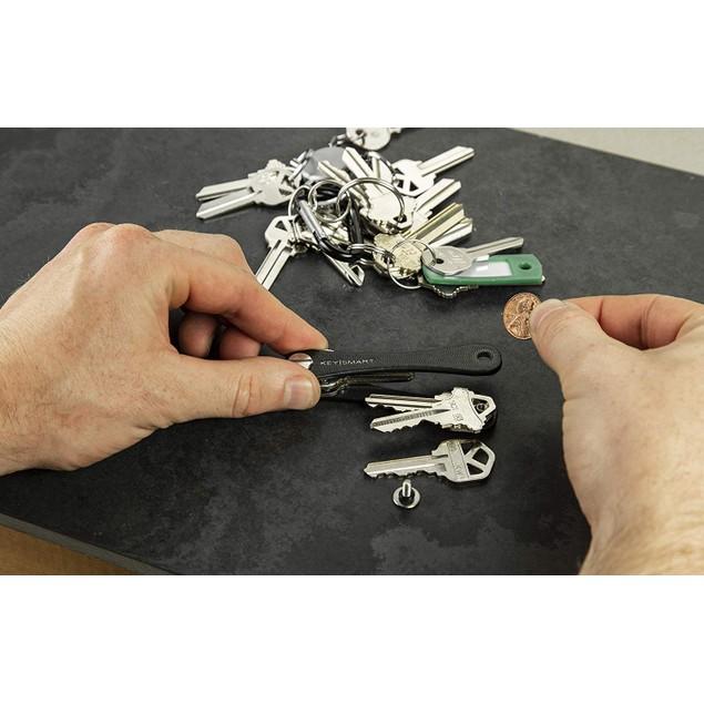 Compact Key Holder & Pocket Keychain Organizer (up to 10 Keys, Black)