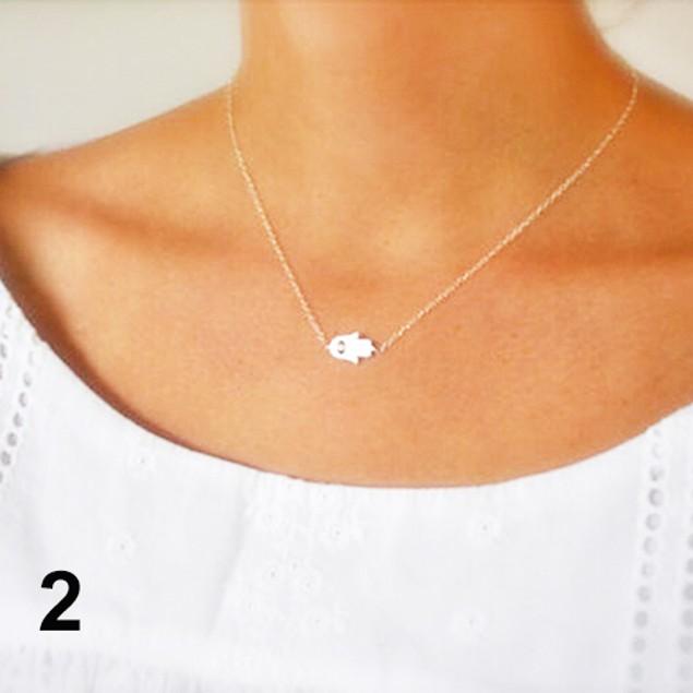 Hamsa Fatima Evil Eye Pendant Necklace