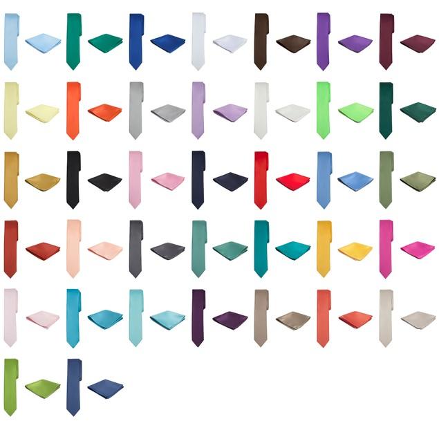 Jacob Alexander Solid Color Men's Skinny Tie and Hanky Set