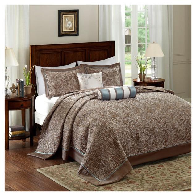 "Madison Park Adeline 5-Pc. Queen (102""x118"") Bedspread Set, Brown"