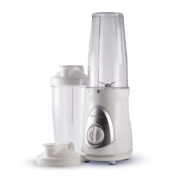 New Smoothie Blender with 2 Blending Cups and Travel Lids, White