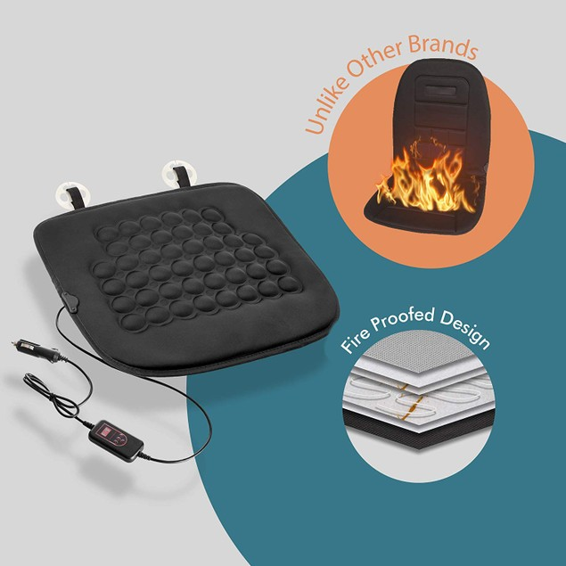 Zone Tech Car Heated Seat Cushion Cover 12v Heater Warmer Pad Timer