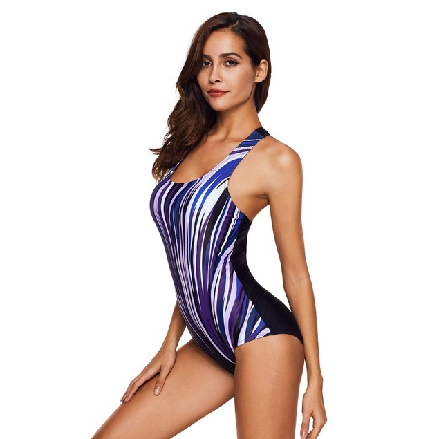 Women's Piece Of Swimsuit Striped Print Bikini Swimwear Bathing Beachwear