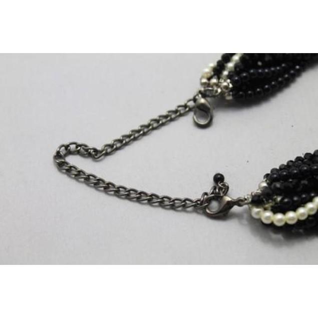 Black onyx two tone necklace