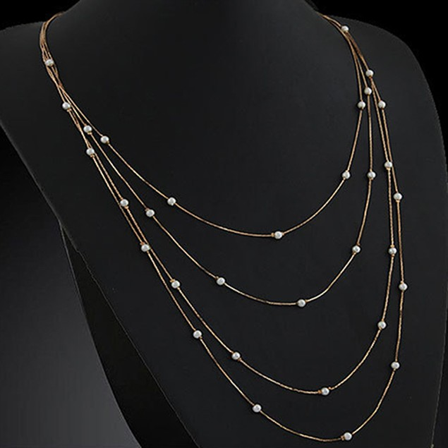 Women's Elegant Multi Layers Beads Necklace