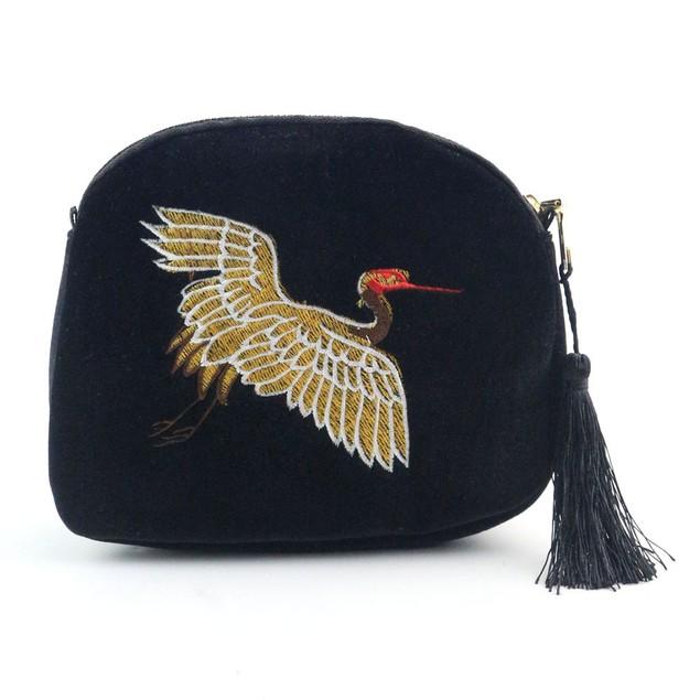 Women Embroidery Crane Travel Shoulder Bag Large Tote Ladies Purse